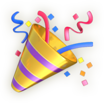Emoji icon of celebration.